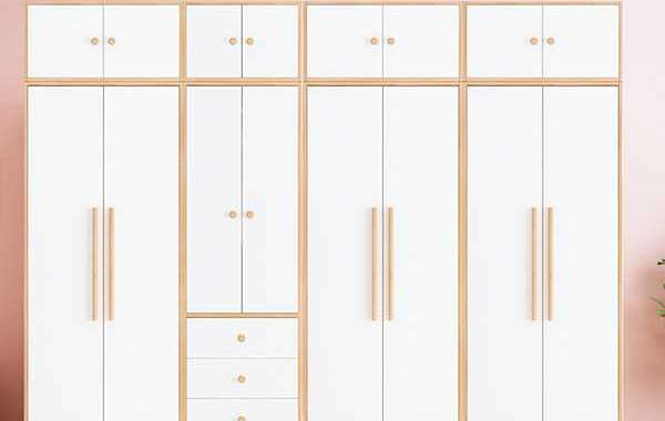 Behind the doors are a combination of shelves and drawers